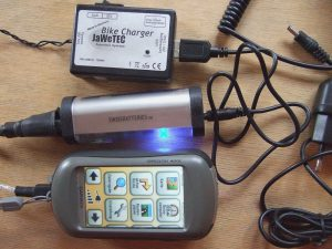 Jawetec bikecharger,swiss batteries powertank,garmin oregon