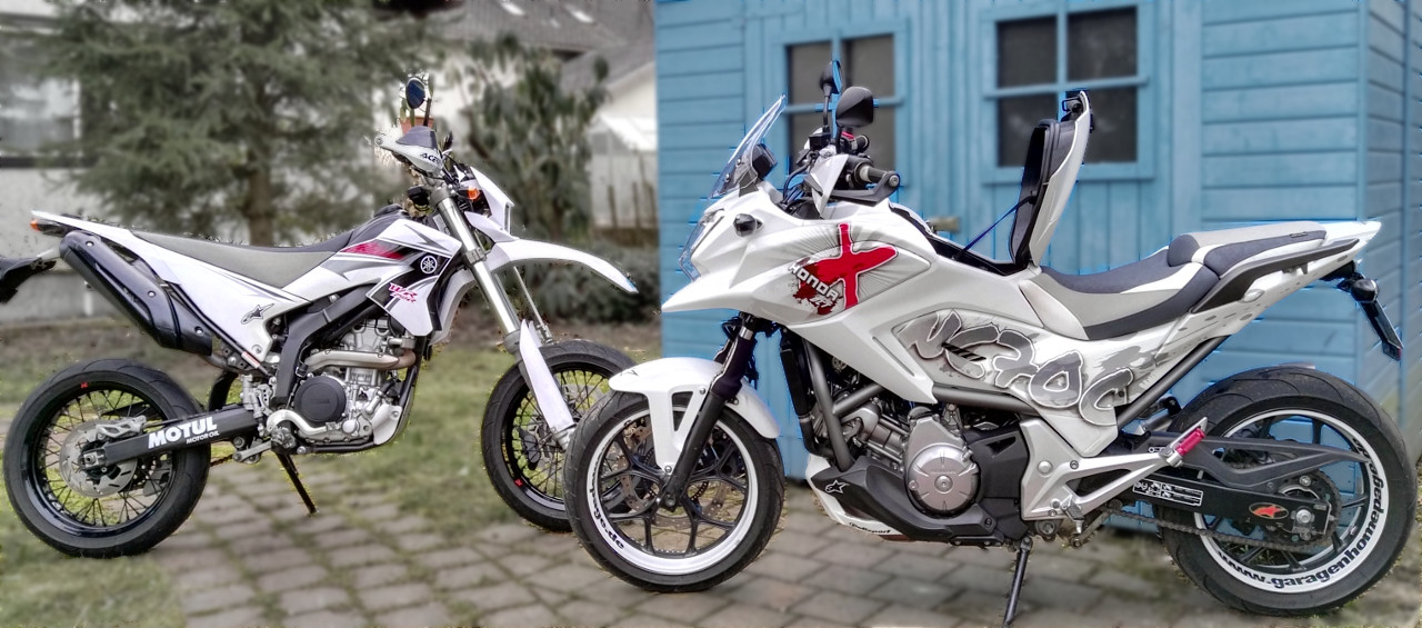 Yamaha WR250R und Honda NC700X